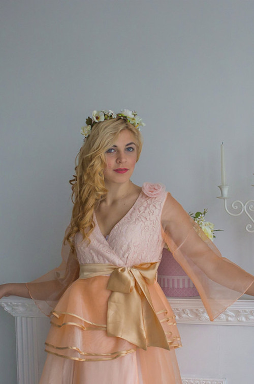 Unique Bridal Robe from my Paris Inspirations Collection - Peplum Robe in Peachy Blush