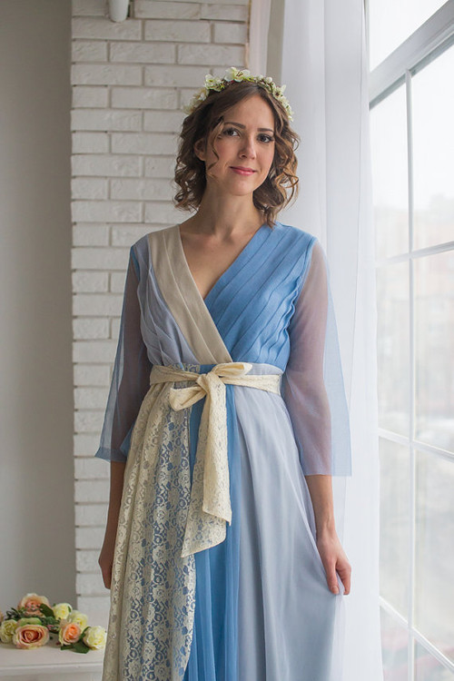 Mismatched Bridal Robe in Dusty Blue from my Paris Inspirations Collection