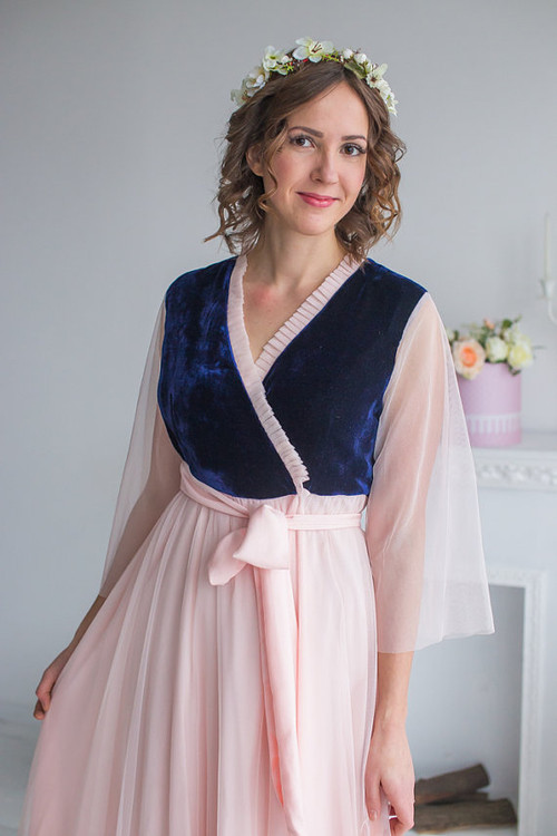 Navy Blush Bridal Robe from my Paris Inspirations Collection - Velvety dreams in Blush