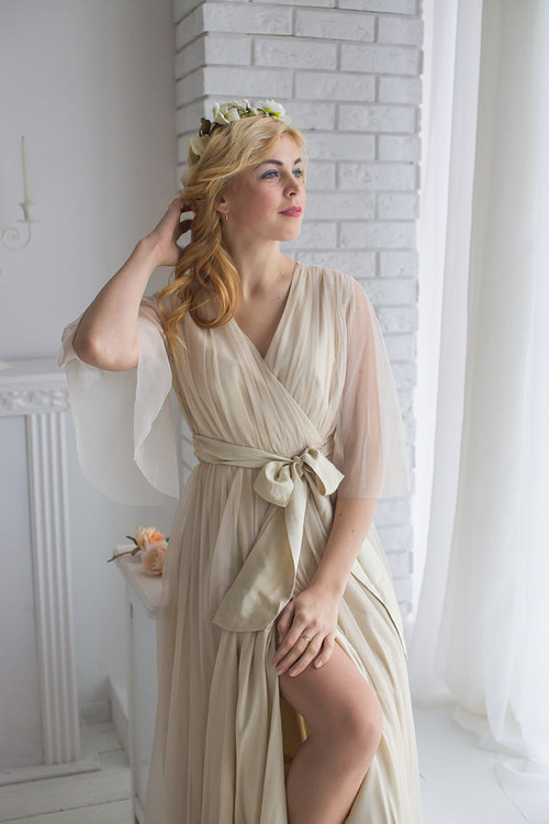 Champagne Bridal Robe from my Paris Inspirations Collection - Minimal Mojo in Nude