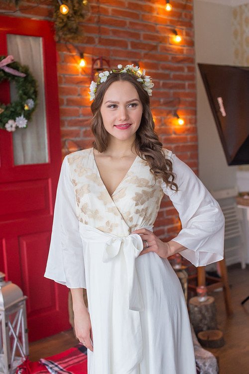 Ivory Leafy Gold Silk Bridal Robe from my Paris Inspirations Collection - Shimmering Grace in Ivory