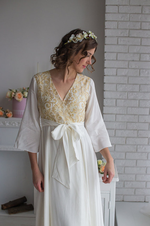 Ivory Floral Gold Silk Bridal Robe from my Paris Inspirations Collection - Shimmering Grace in Ivory
