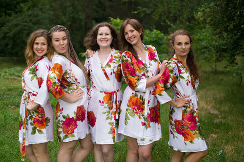 White Large Floral Blossom Silk Bridesmaids robes