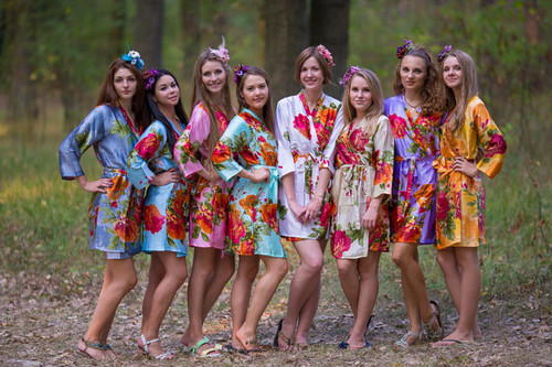 Pastel Large Floral Blossom Silk Bridesmaids Robes