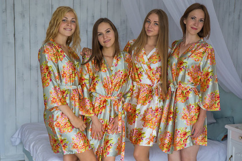 Gray Green Floral Posy Silk Bridesmaids robes