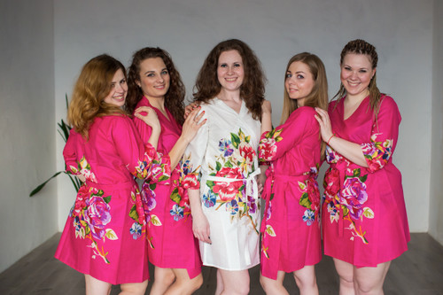 Magenta One long flower pattered Robes for bridesmaids | Getting Ready Bridal Robes