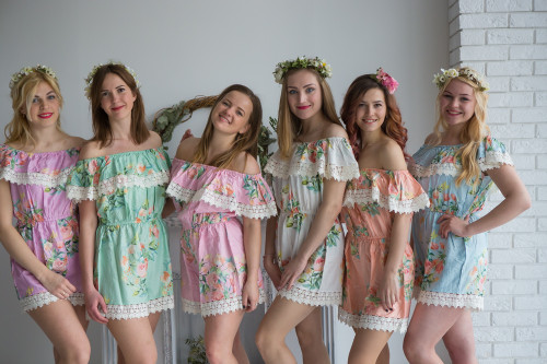 Off the Shoulder Lace Trimmed Mismatched Bridesmaids Rompers in Dreamy Angel Song Pattern