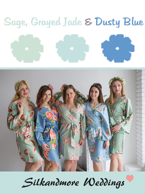 Sage, Grayed Jade and Dusty Blue Wedding Color Robes - Premium Rayon Collection