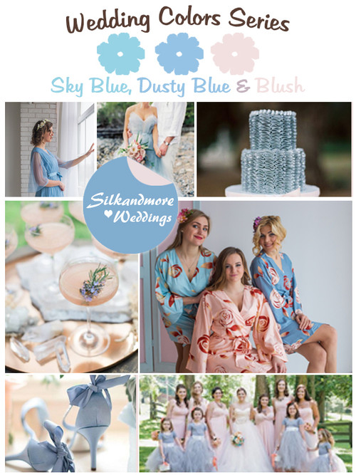 Sky Blue, Dusty Blue and Blush Wedding Colors Palette