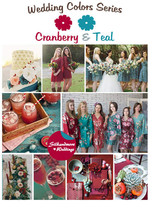 Cranberry and Teal Wedding Colors Palette