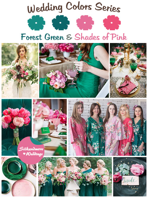 Forest Green and Shades of Pink Wedding Colors Palette