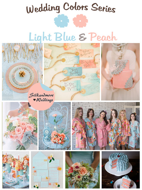 Light Blue and Peach Wedding Colors Palette