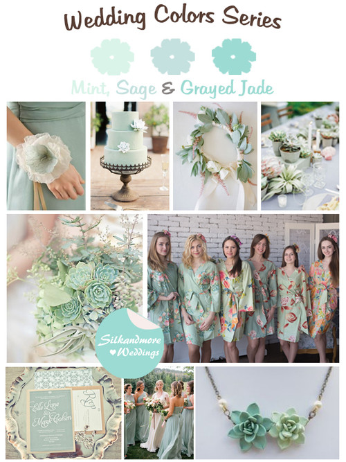 Mint, Sage and Grayed Jade Wedding Colors Palette
