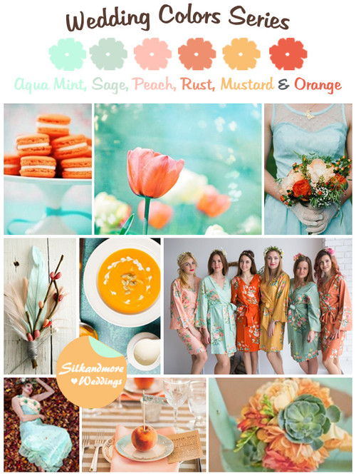 Mint, Sage, Peach, Mustard and Orange Wedding Colors Palette