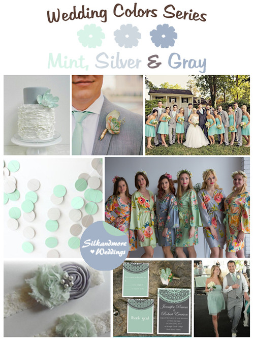Mint, Silver and Gray Wedding Colors Palette
