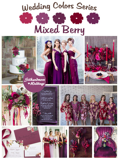 Mixed Berry Wedding Color Robes - Wedding Color Palette