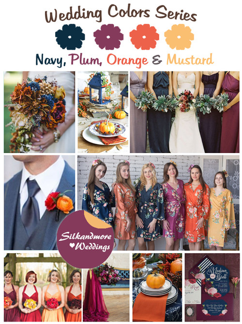 Navy, Plum, Orange and Mustard Wedding Color Palette