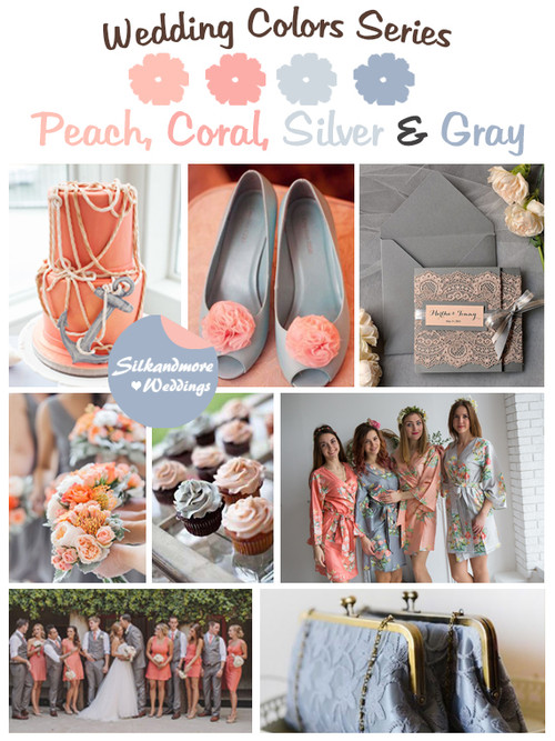 Peach, Coral, Silver and Gray Wedding Color Palette