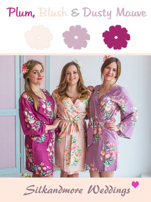 Plum, Blush and Dusty Mauve Wedding Color Robes - Premium Rayon Collection