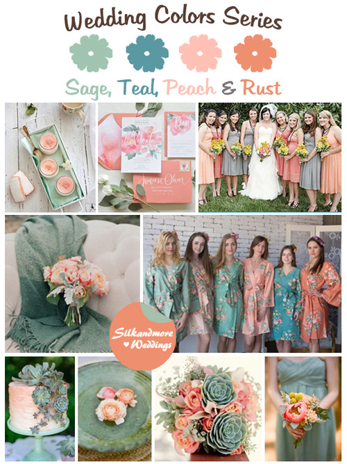 Sage, Teal, Peach and Rust Wedding Color Palette