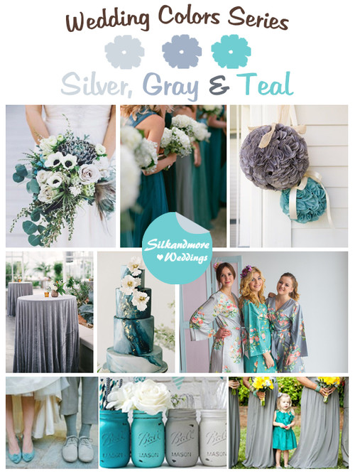 Silver, Gray and Teal Wedding Color Palette
