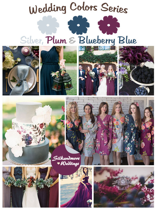 Silver, Plum and Blueberry Blue Wedding Color Palette