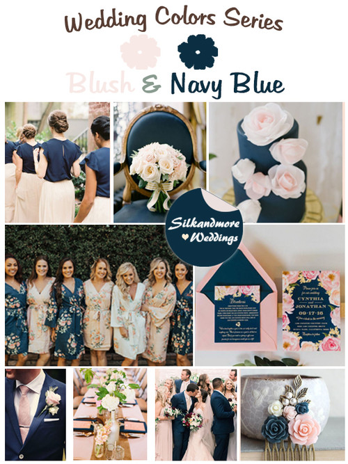 Blush and Navy Blue Wedding Color Palette
