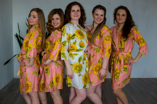 Pink Sunflower Robes for bridesmaids | Getting Ready Bridal Robes