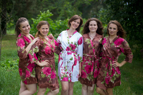 Brown Large Fuchsia Floral Blossoms Robes for bridesmaids | Getting Ready Bridal Robes