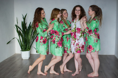 Mint Large Fuchsia Floral Blossoms Robes for bridesmaids | Getting Ready Bridal Robes