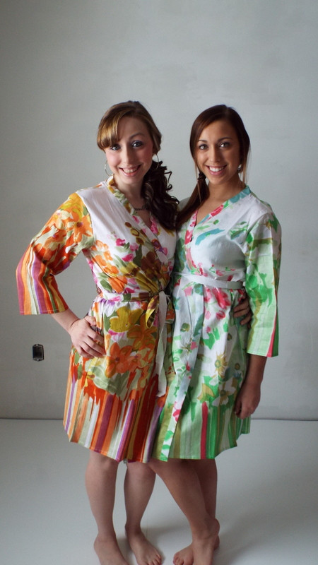 Mint Floral Watercolor Painting Robes for bridesmaids | Getting Ready Bridal Robes