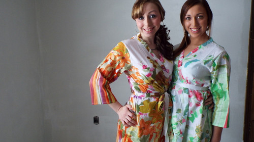 Orange Floral Watercolor Painting Robes for bridesmaids   Getting Ready Bridal Robes