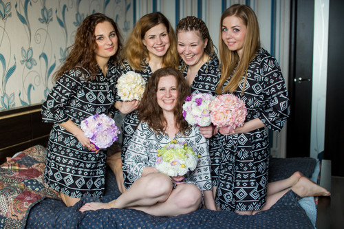 Black Tribal Aztec Robes for bridesmaids | Getting Ready Bridal Robes