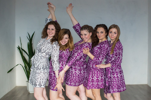 Purple Tribal Aztec Robes for bridesmaids | Getting Ready Bridal Robes