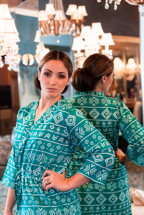 Teal Tribal Aztec Robes for bridesmaids | Getting Ready Bridal Robes