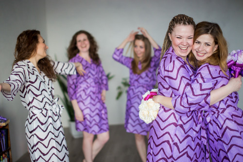 White Chevron Robes for bridesmaids   Getting Ready Bridal Robes
