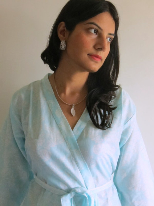 Light Blue Damask Robes for bridesmaids | Getting Ready Bridal Robes