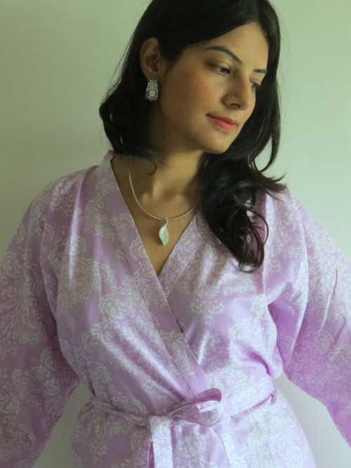 Lilac Damask Robes for bridesmaids   Getting Ready Bridal Robes