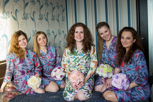 Gray Ikat Aztec Robes for bridesmaids