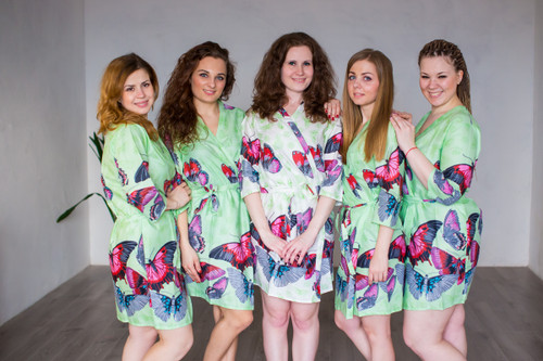 Mint All Over Butterflies Robes for bridesmaids | Getting Ready Bridal Robes