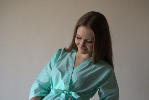 Kimono cross over robe in solid mint color