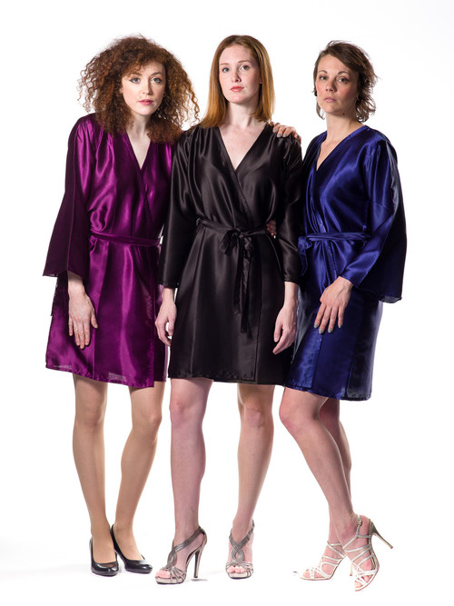 Plain Silk Robes for bridesmaids in Black Color