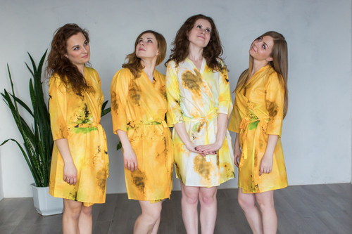 White Yellow Watercolor Splash Robes for bridesmaids | Getting Ready Bridal Robes