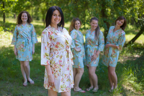 Light Blue Flowers Rain Bridesmaids Robes