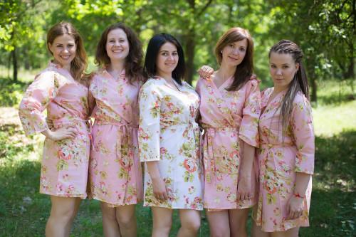 Pink Flowers Rain Bridesmadis Robes