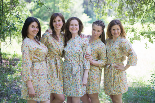 Light Yellow Petit Floral Robes for bridesmaids