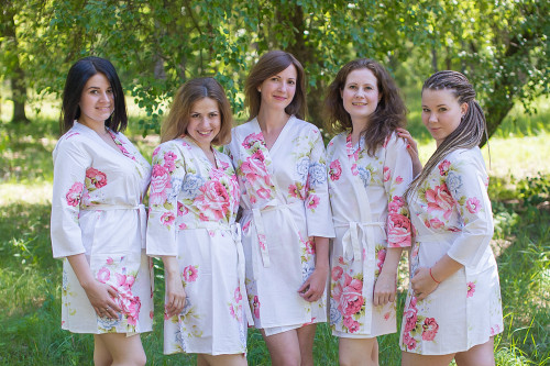 White Cabbage Roses Robes for bridesmaids