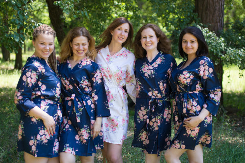 Navy Blue Faded Floral Robes for bridesmaids