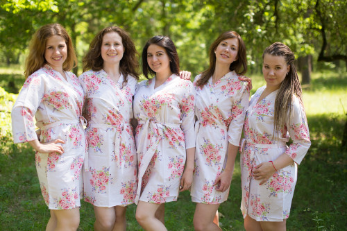White Faded Floral Robes for bridesmaids