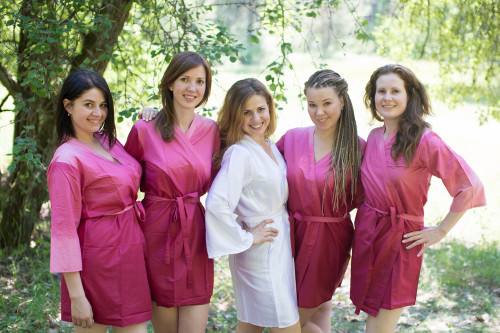 Burgundy Ombre Tie-dye Robes for bridesmaids